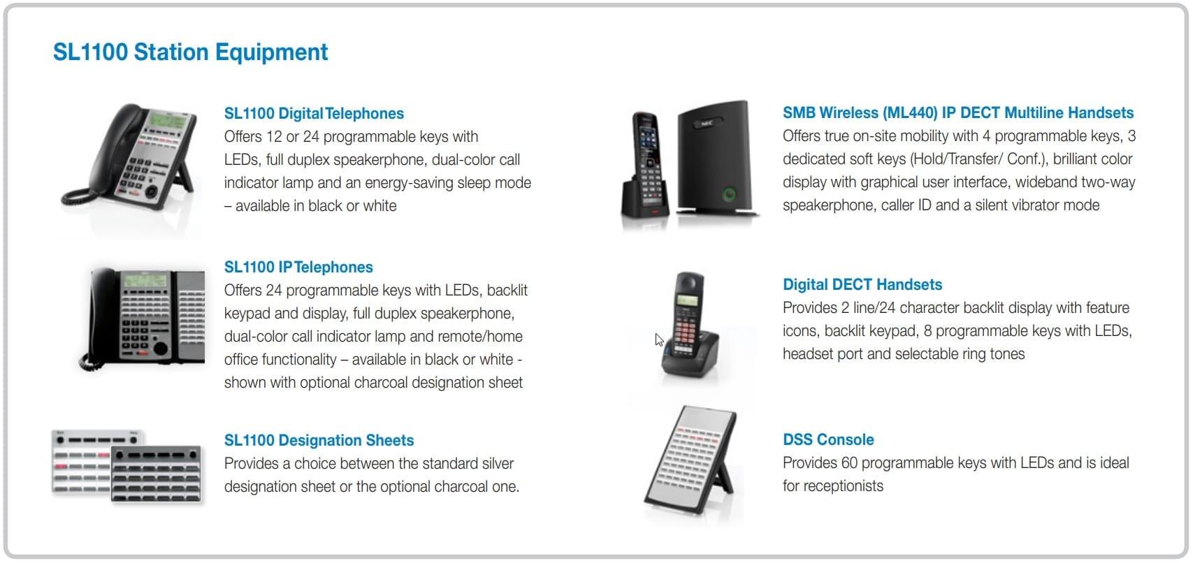 Pyer Phone Systems Melbourne - NEC - SL1100 PBX System Equiment list